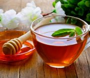 cup of tea with mint and honey